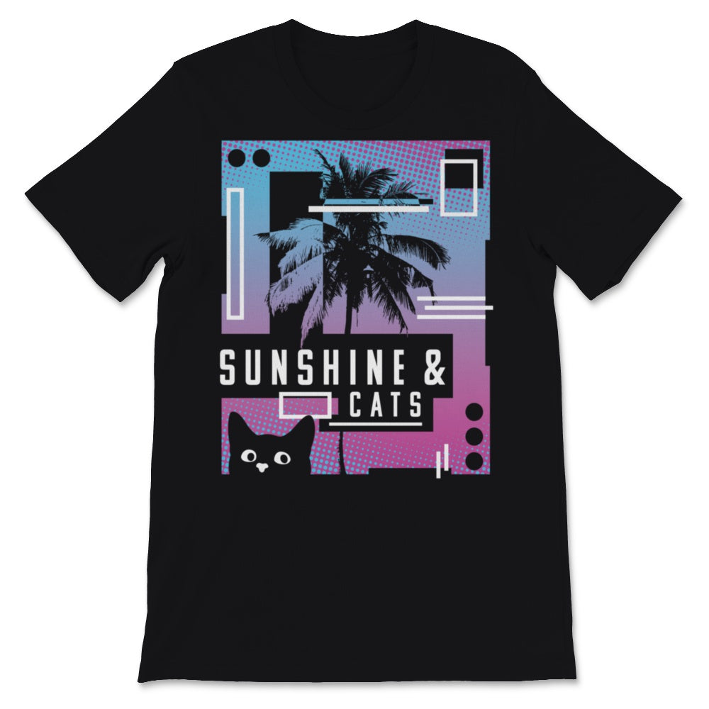 Sunshine And Cats Design. 90's Vaporwave, Aesthetic Unisex T-Shirt