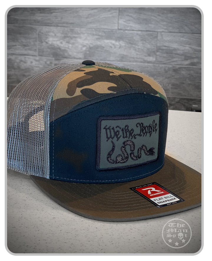 "Camo OD Green Patch ""We the People"" SnapBack 7 Panel Hat"