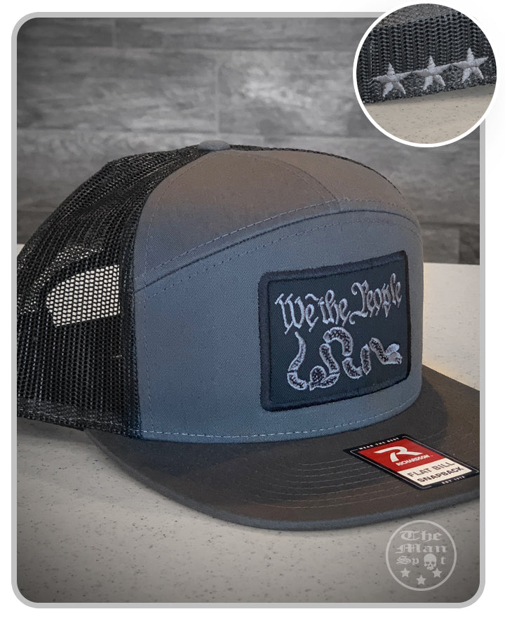 "Black / Dark Grey ""We the People"" SnapBack 7 Panel Hat"