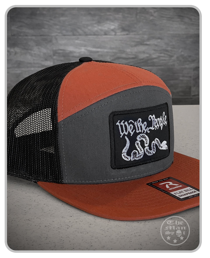 "Burnt Orange / Black ""We the People"" SnapBack 7 Panel Hat"