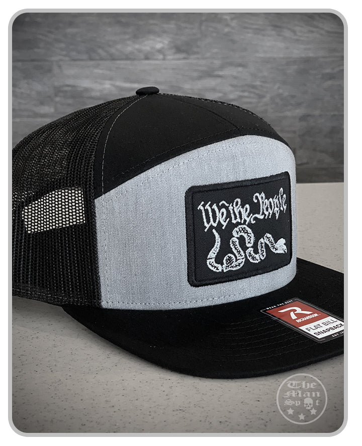 "Grey ""We the People"" SnapBack 7 Panel Hat"