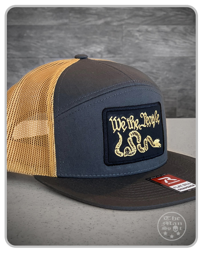 "Grey / Burnt Yellow ""We the People"" SnapBack 7 Panel Hat"