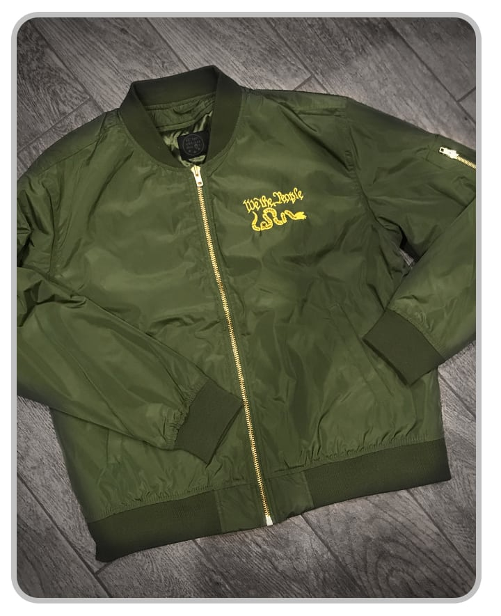 "Embroidered ""We The People Bomber"" Jacket (Green)"