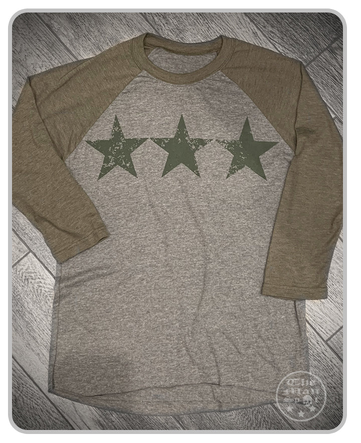 "3-Star Green ""Independence""  Baseball tee 3/4 sleeve (unisex)"