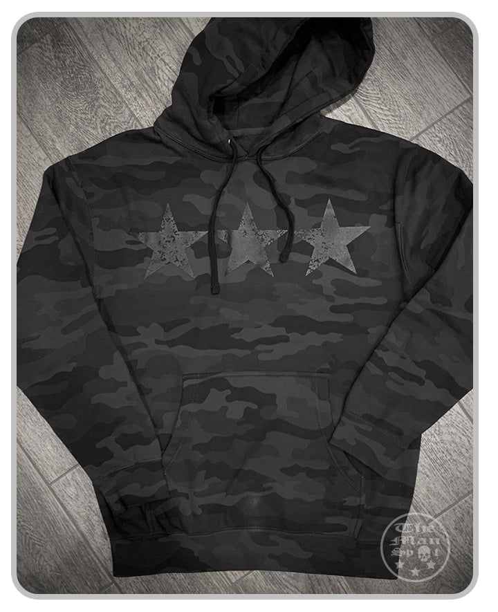 "3 Star Black Camo Murdered ""Independence"" Pullover Hoodie"