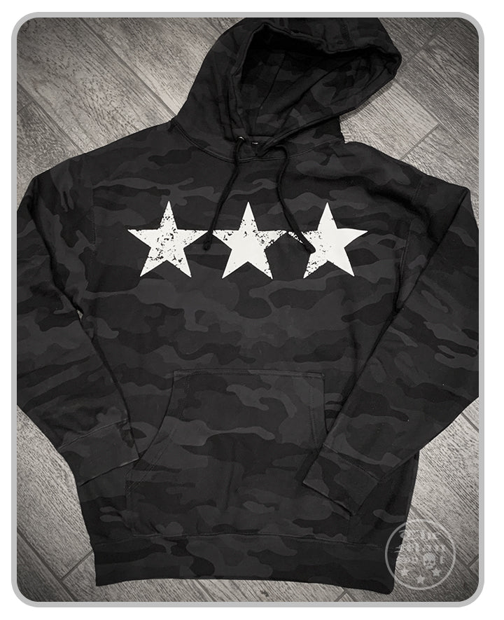 "3 Star Black Camo w/ White ""Independence"" Pullover Hoodie"