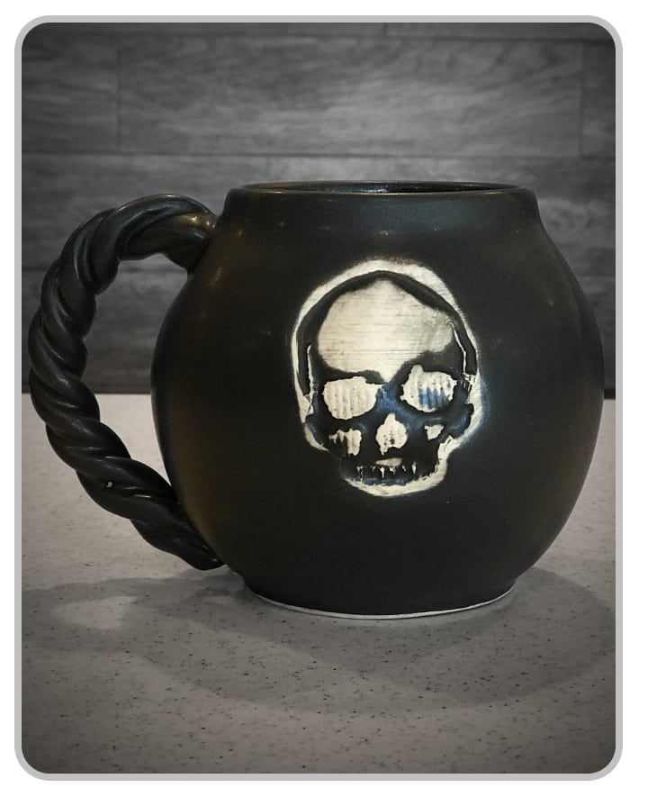CannonBall Skull (Black) - Mug - USA Handcrafted
