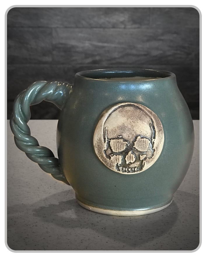 CannonBall Skull - Grey - Mug - USA Handcrafted