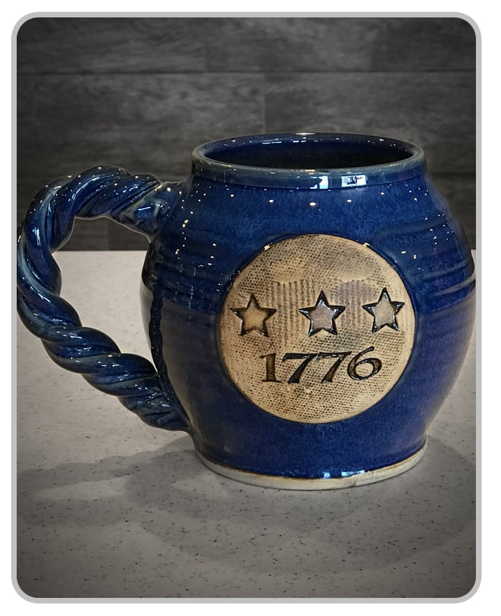 CannonBall Glass Blue - 1776 - Mug - USA Handcrafted
