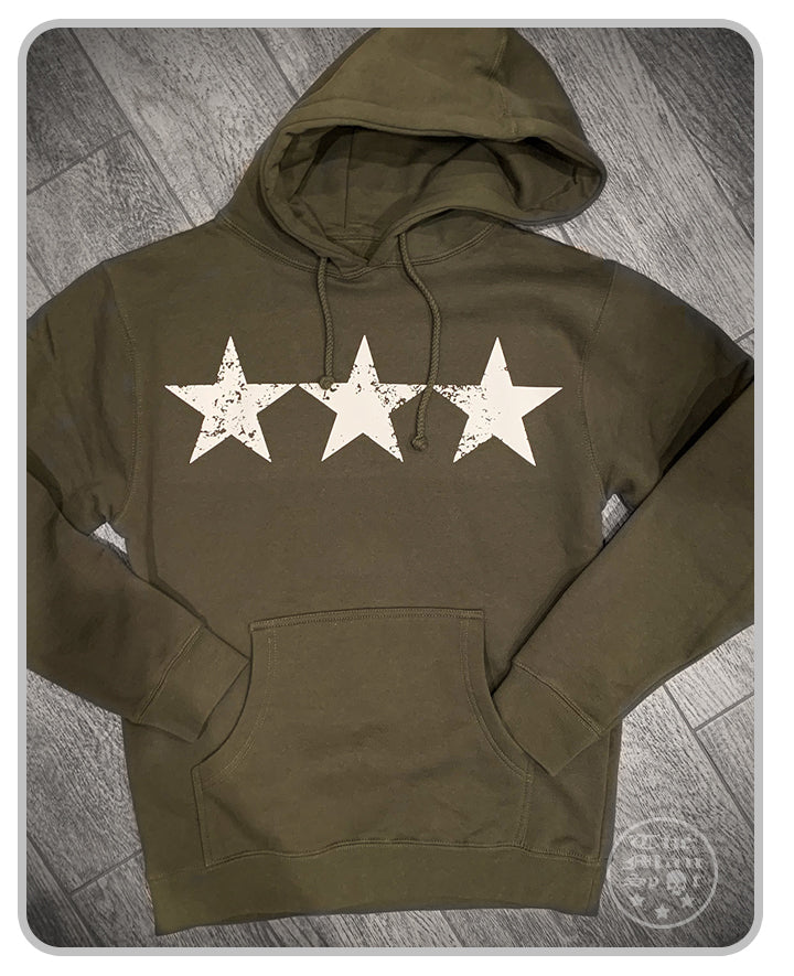 "3 Star Green ""Independence"" Pullover Hoodie - OD Green"