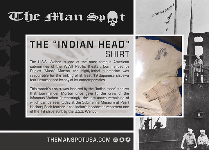 "Blue ""Indian Head"" WWII Crew Tee (Unisex)"