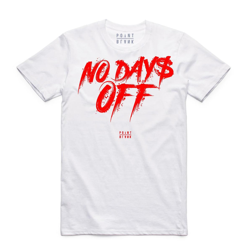 T-shirt Point Blank No Day$ Off in White(Red)