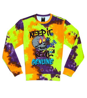 Crewneck GENUINE FIRE SKULL Lime