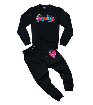 Crewneck & Jogger Set GENUINE COOKIE MONSTA BLACK