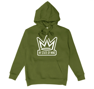 HOODIE NY STATE OF MIND CROWN LOGO GREEN