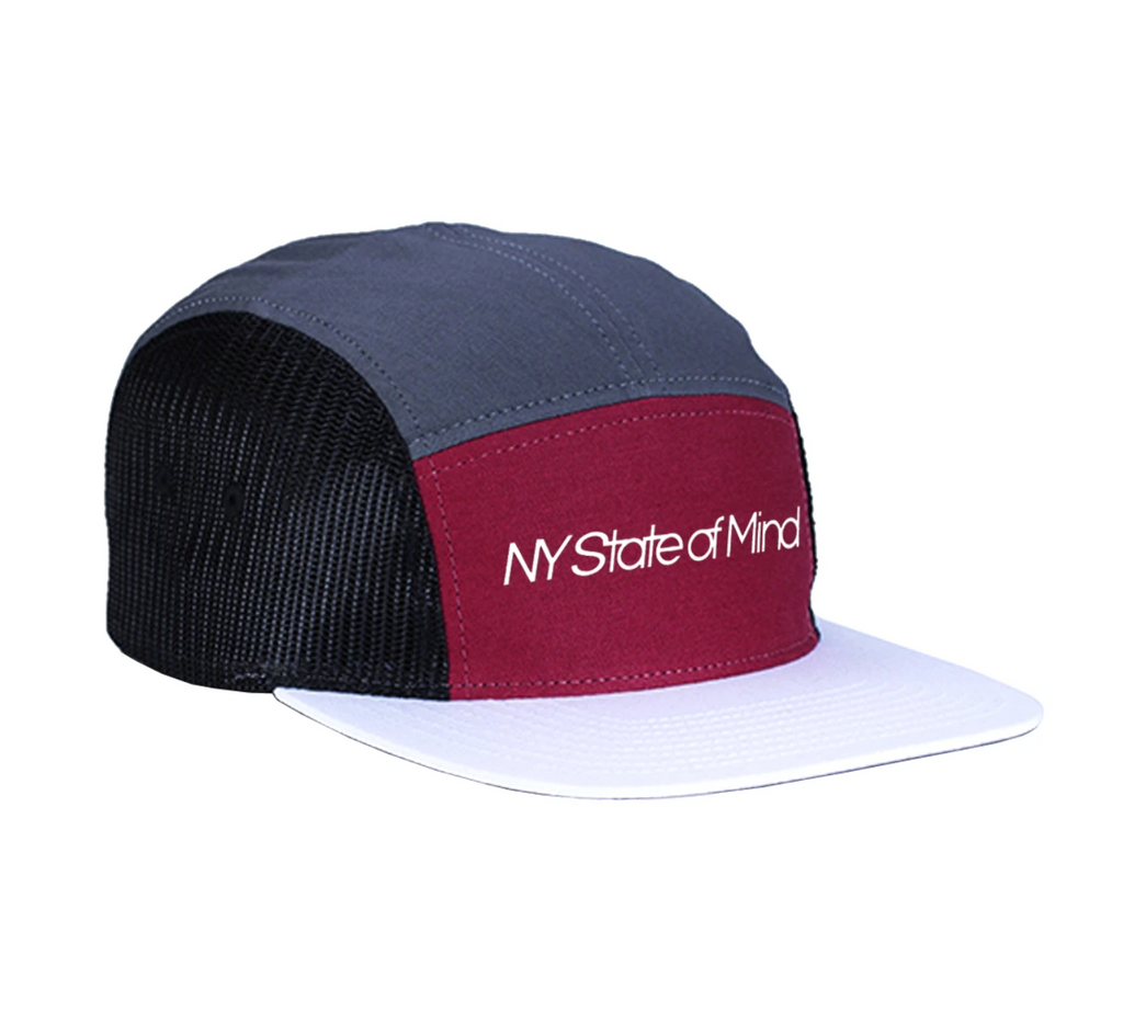 CASQUETTE NY STATE OF MIND MESH 5 PANEL GREY/BURGUNDY/WHITE