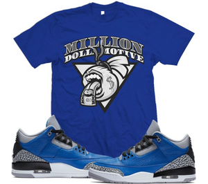 T-shirt Million Dolla Motive Screaming Money Bag Blue