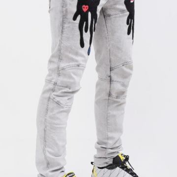 TEAR DRIP GRAY DENIM PANTS (RK4480348)