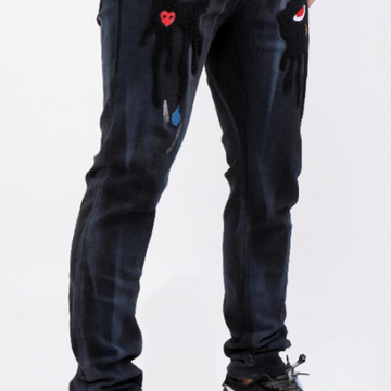 TEAR DRIP BLACK CLOUD DENIM PANTS (RK4480347)