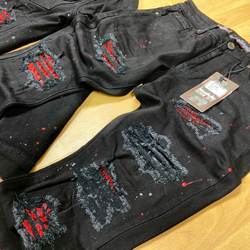 JET BLACK WASH DENIM RED/BLK STONES DNM-K012