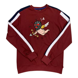Crewneck BKYS- Steel hurt BURGUNDY/WHITE Patchwork