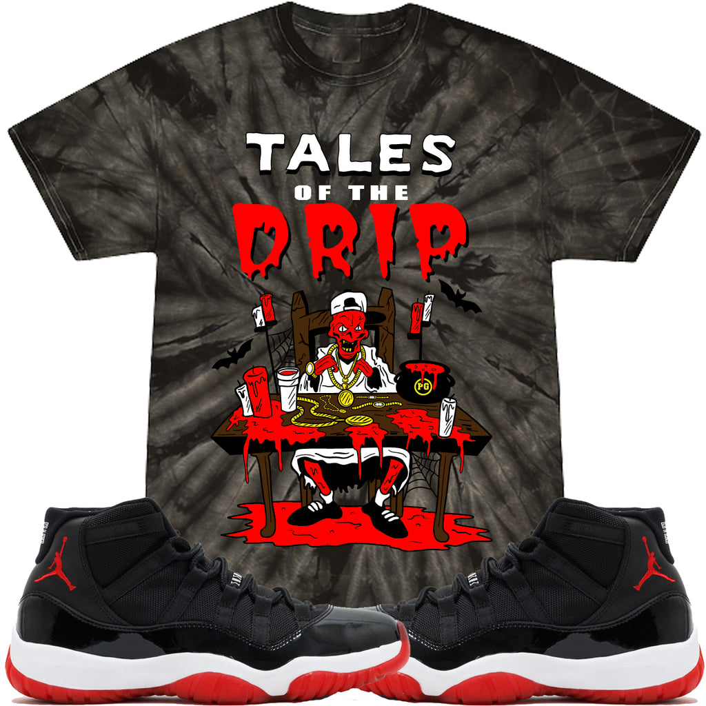 T-shirt Planet of the grapes TTALES DRIP - TYE DYE Black w/ Red