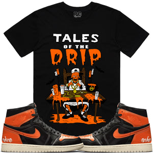T-shirt Planet of the grapes TALES DRIP - Black w/ Orange