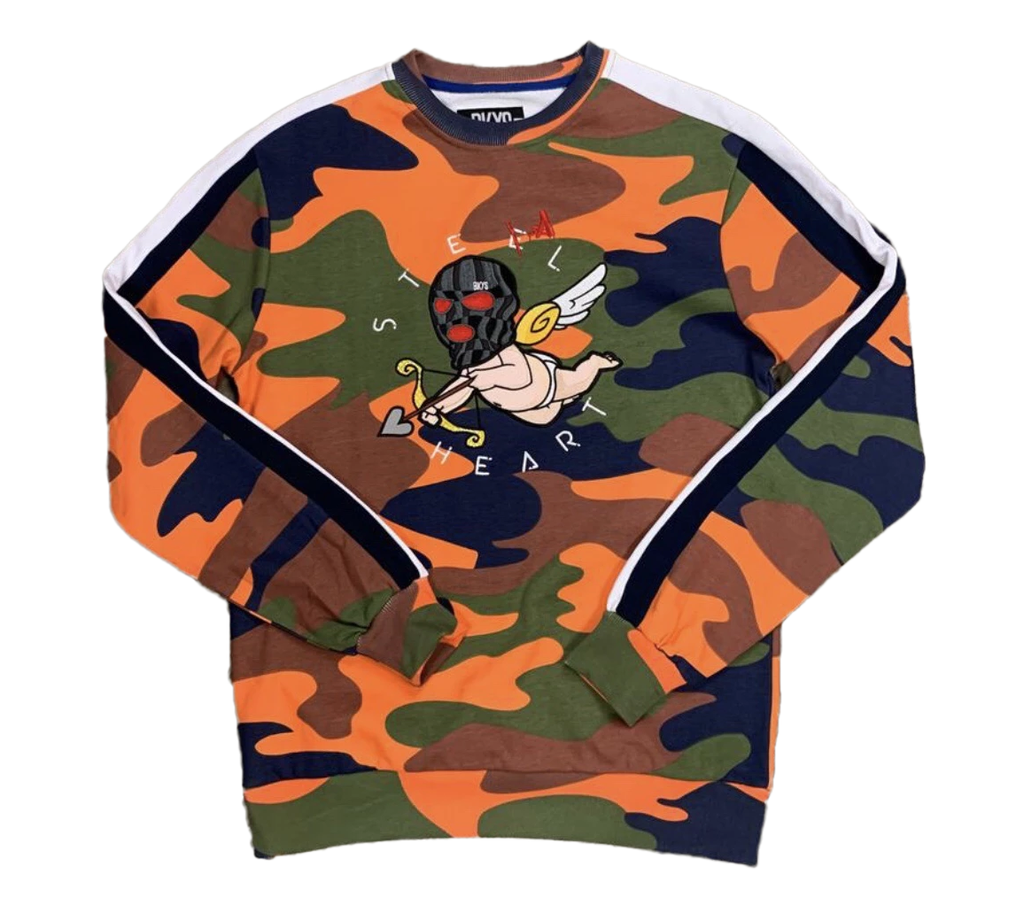 Crewneck BKYS- Steel hurt Orange Camo Patchwork