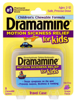 Dramamine Chewable Motion Sickness Relief for Kids Grape 8ct