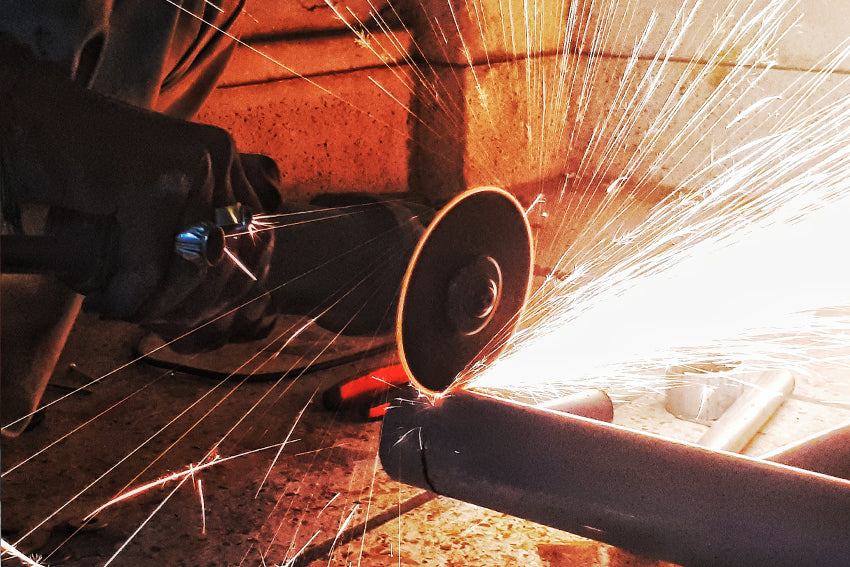 cutting with angle grinder