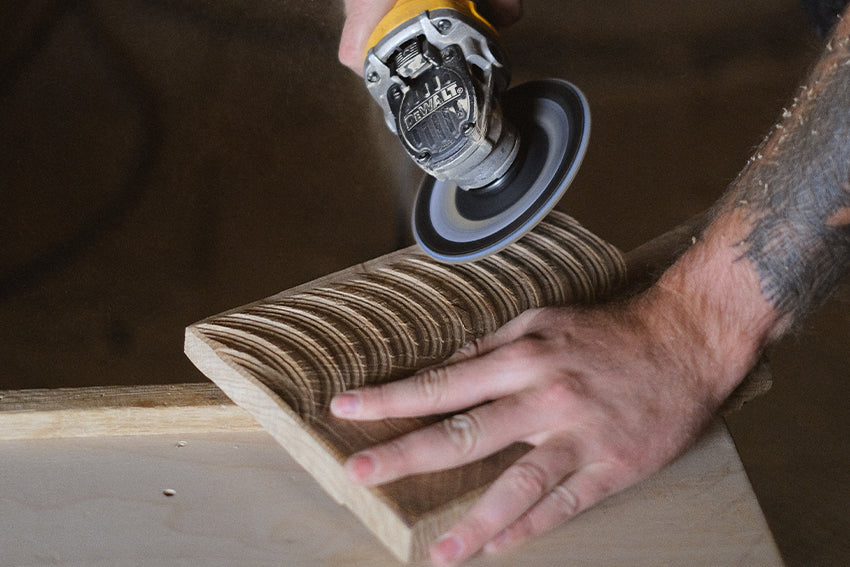 sanding with angle grinder