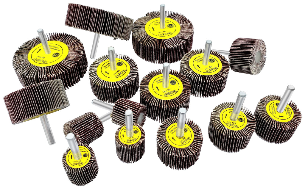 Flap Sanding Wheels Kit for Drill (Set of 15) - LINE10 Tools