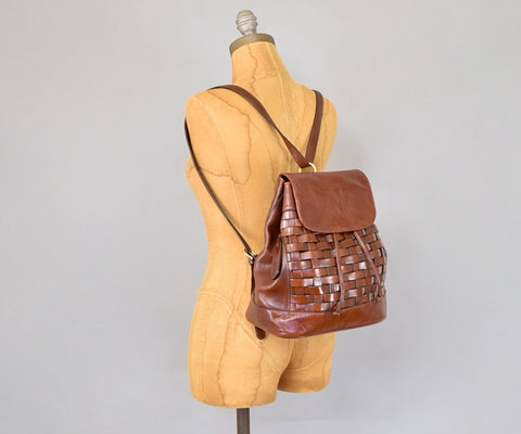 Etienne Aigner Woven Leather Backpack