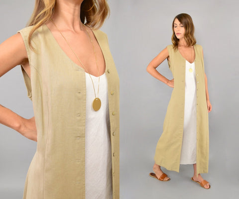 90's Minimalist Button-Up Duster Dress