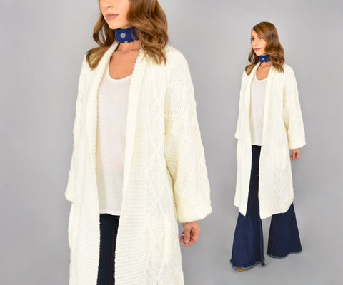 80's White Knit Cardigan Duster