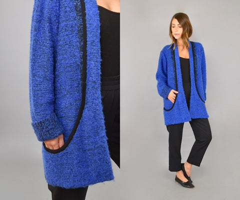 Blue Bouclé Knit Cardigan