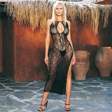 Leg Avenue 2 Piece Swirl Lace Slit Dress With GString