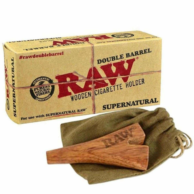 Double Barrel Wooden Cigar Holder On sale