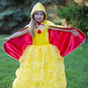 Reversible Snow White/Belle Cape, Red/Yellow, Size 5-6