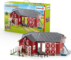 72102P Large Red Barn w/ Black Angus