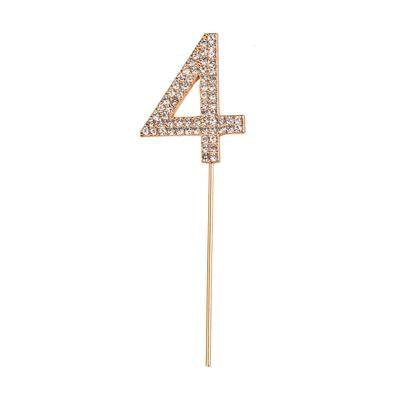 Individual Rhinestone Number Cake Toppers