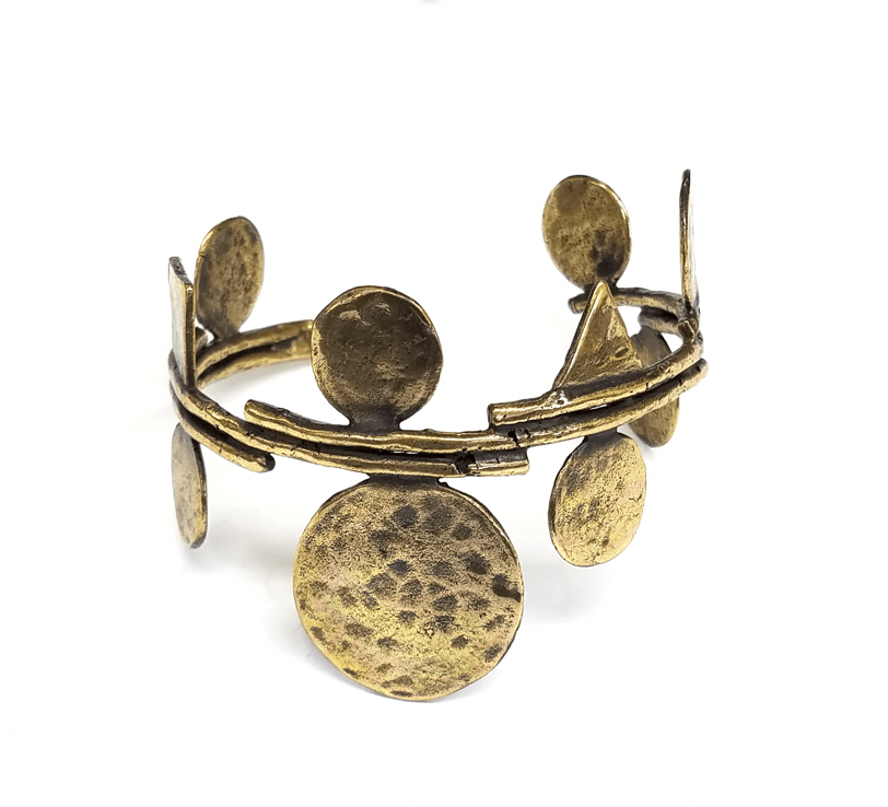 Circle and Square Design Brass Cuff - HipSilver