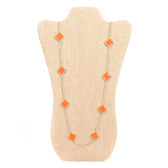 Clover Necklace in Orange