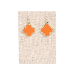 Clover Earrings in Orange