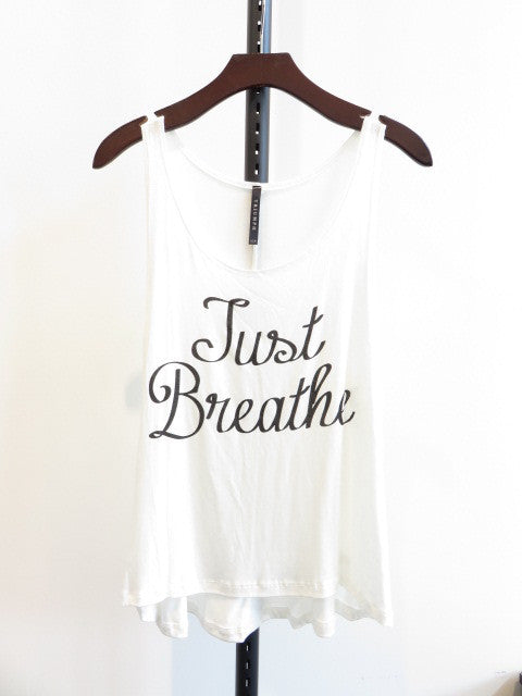 Just Breathe tank in Off White (Cystic Fibrosis awareness)