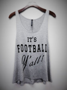 It's FOOTBALL Y'all! tank-Heather Grey