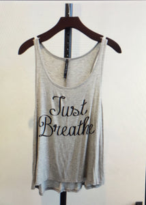 Just Breathe tank in Gray (Cystic Fibrosis awareness)