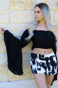 Black Butterfly Crop Top