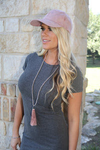 Suede Baseball Cap in Blush