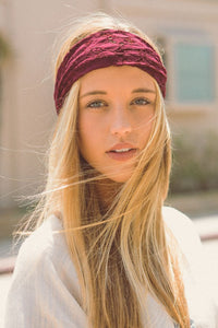 Burgundy Lace Headband